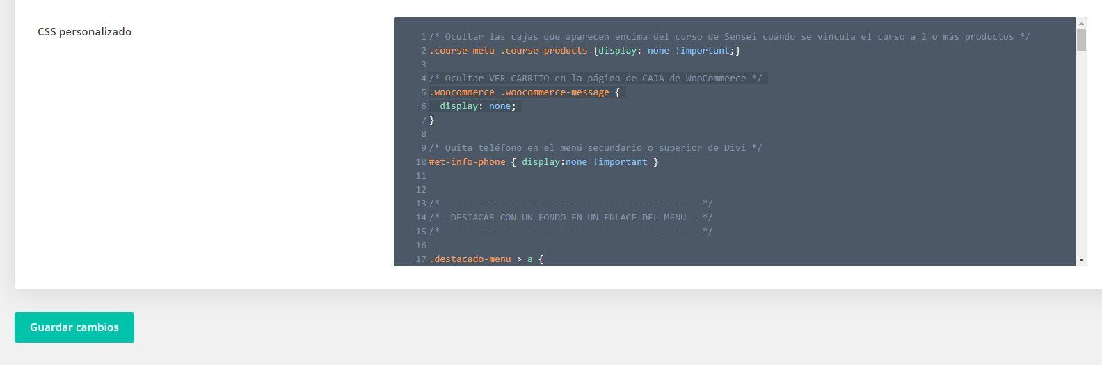 Los códigos que uso en mi web de www.cursowp-online.com