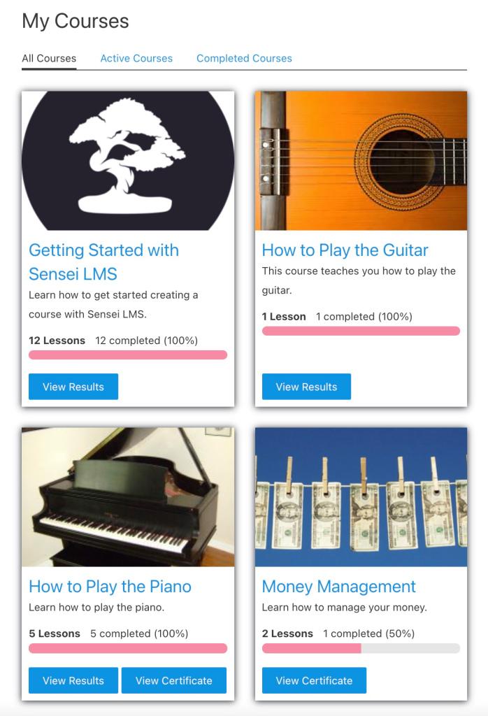 Nueva página de MIS CURSOS de Sensei LMS con vista tipo cuadrícula
